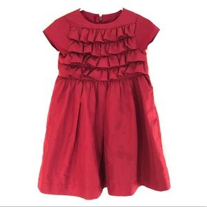 Baby Gap 4 Y Christmas Dress Red Polyester Ruffled